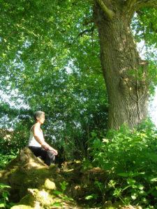 Anne-Marie en assise sur et sous un chêne au centre Art du Chi bourgogne