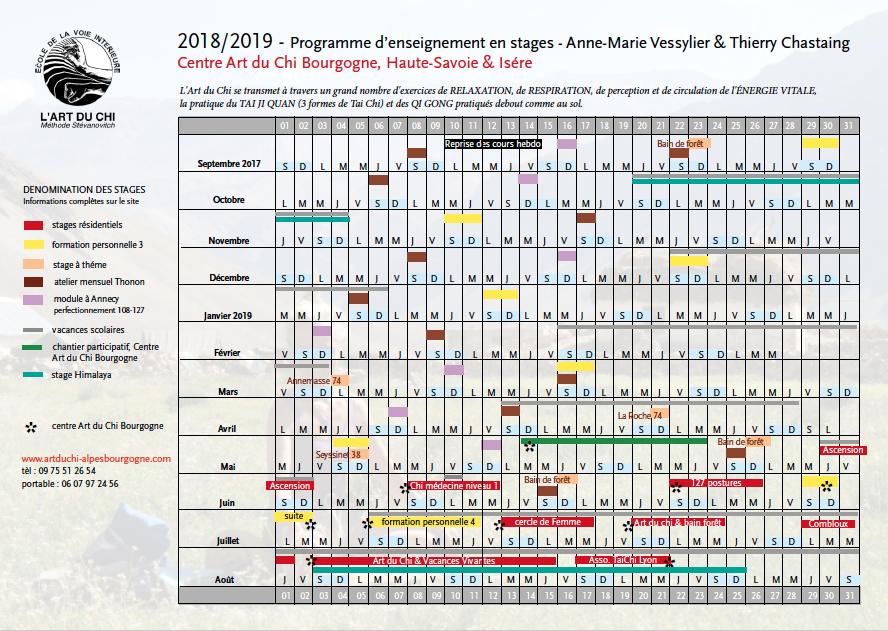 planning des stages Art du Chi 2018/2019